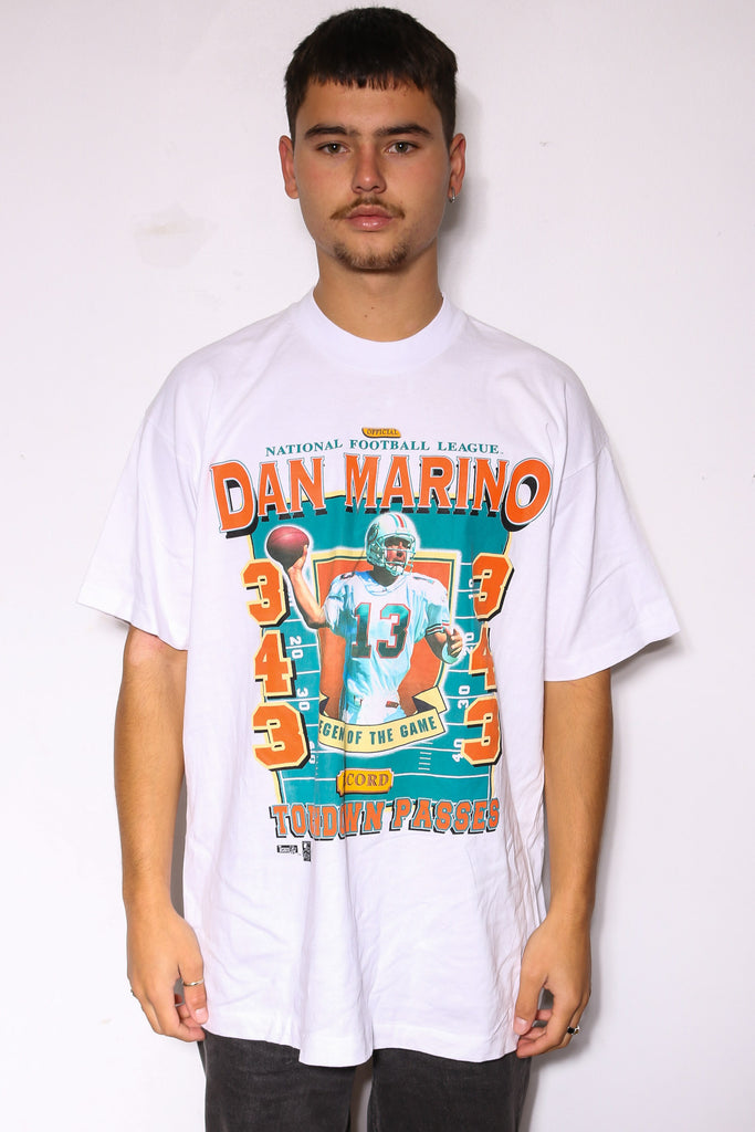 90'S NIKE NAVY WITH WHITE EMBROIDERED SWOOSH TEE *WASHED MARKS THROUGHOUT* (X-LARGE)