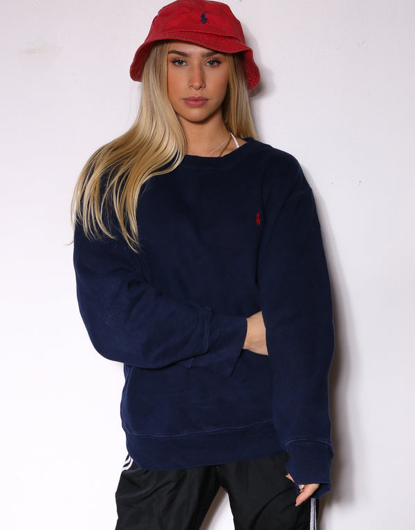 90'S RALPH LAUREN NAVY WITH RED PONY SWEATSHIRT *WASHED MARKS THROUGHOUT* (LABELLED LARGE FITS X-LARGE)