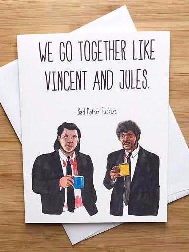 Pulp Fiction Friendship Love Greeting Card