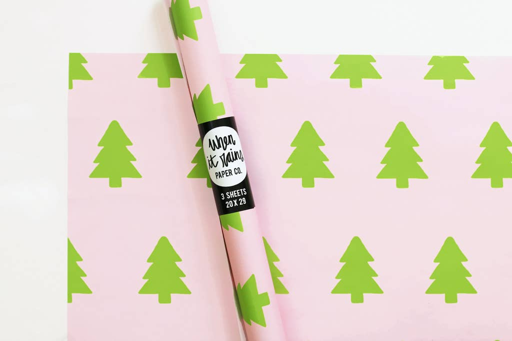 Pink and Green Christmas Tree Gift Wrap