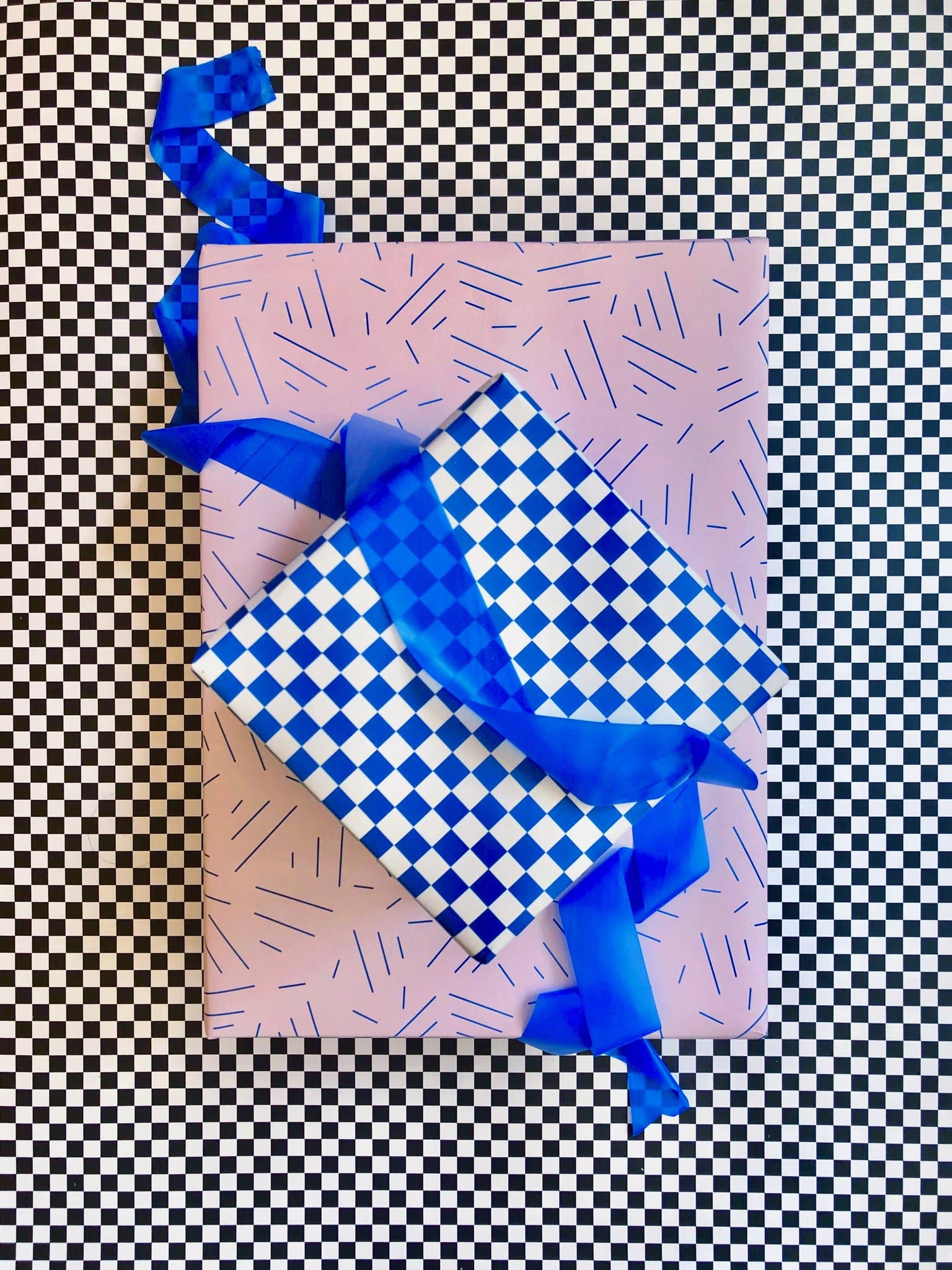 Checkerboard Black Gift Wrap