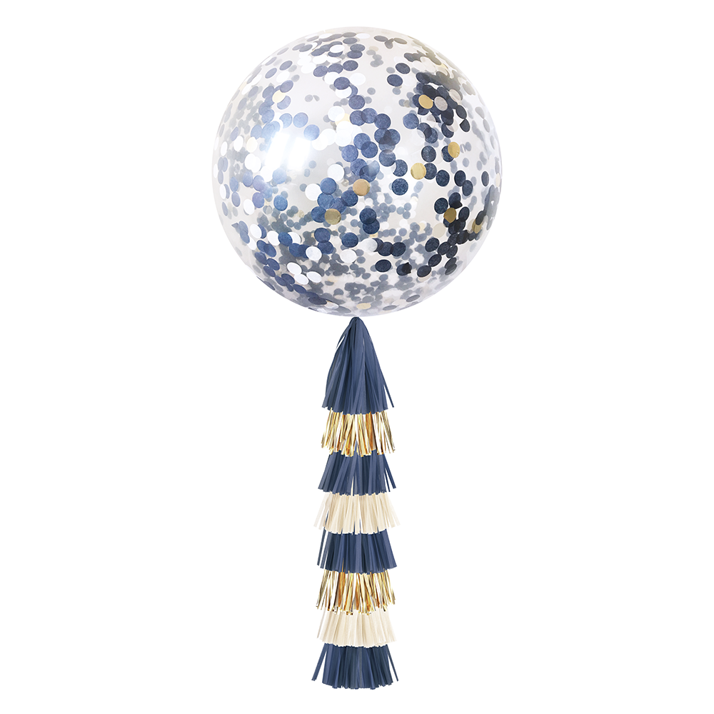 Jumbo Confetti Balloon & Tassel Tail - Navy & Gold