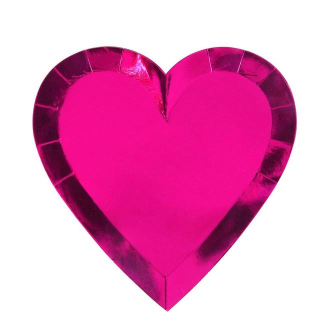Pink Foil Heart Plates
