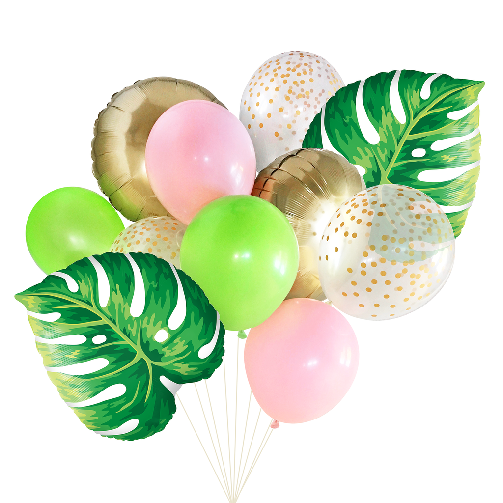 Tropical Balloon Bouquet with Leaves