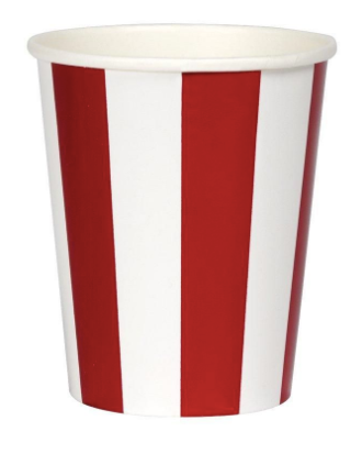 Red and White Foil Striped Cups