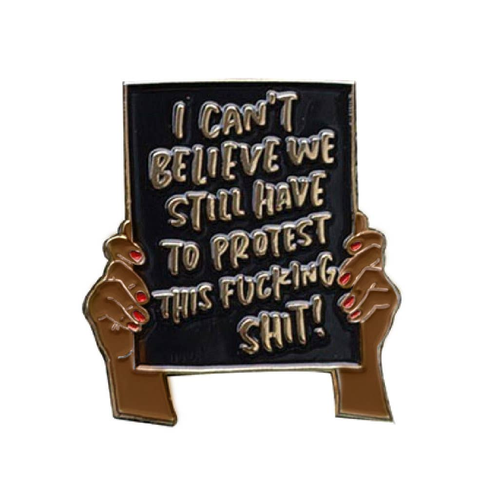 Protest Sign Pin, Brown