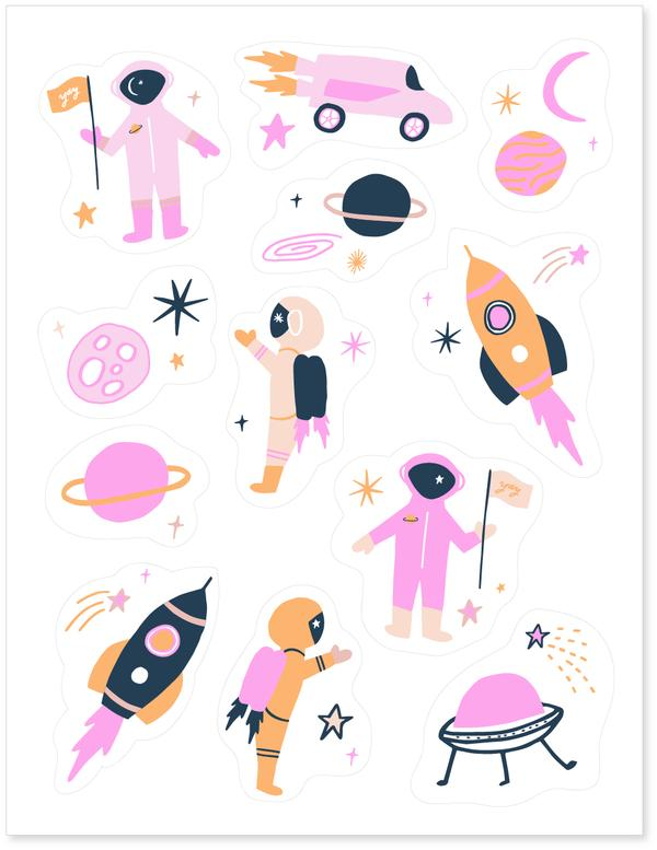 Astronaut and Outer Space Edible Decorating Stickers