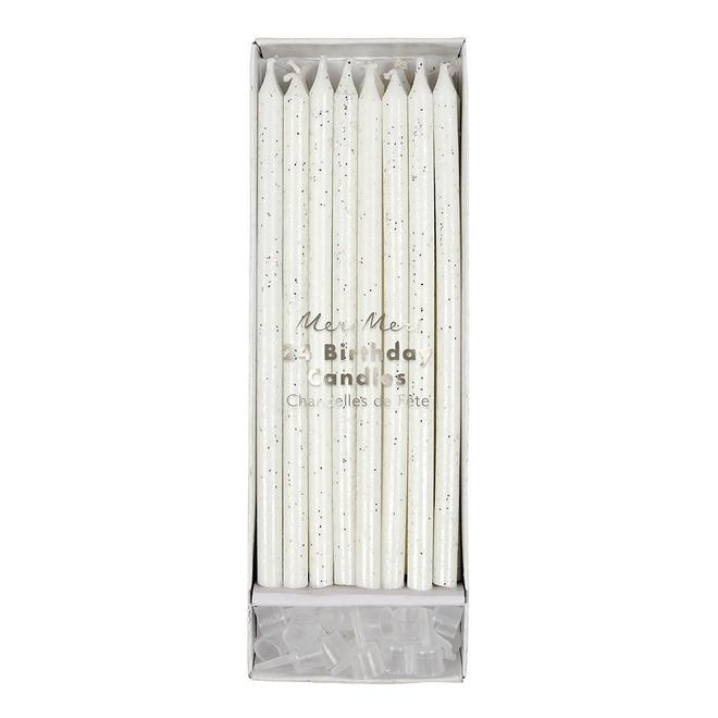 Silver Glitter Candles