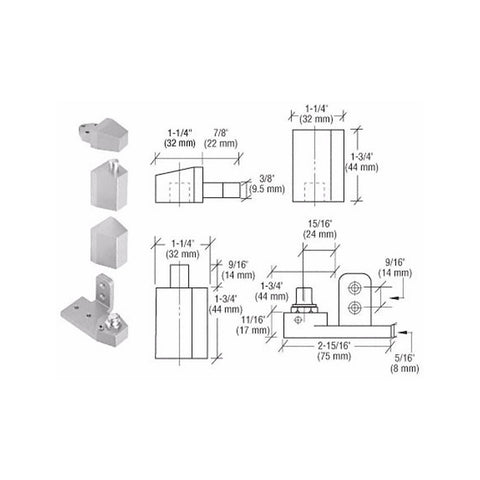 Door Resources J30<br>Pivot Hinge Set For Use On Arcadia, Arch Aluminum, Tubelite and Vistawall DoorsPivot HingesDoor Resources - Door Resources