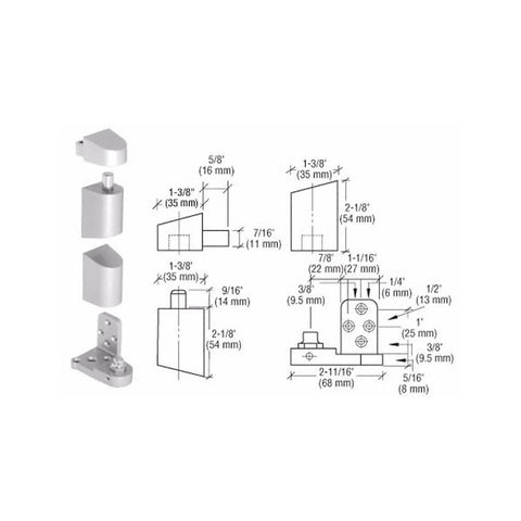 Door Resources J34<br>Pivot Hinge Set For Use On U.S. Aluminum DoorsPivot HingesDoor Resources - Door Resources
