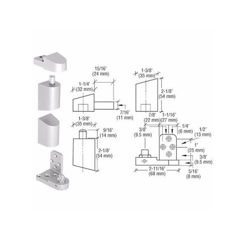Door Resources J41<br>Pivot Hinge Set For Use On Pittco & PPG DoorsPivot HingesDoor Resources - Door Resources