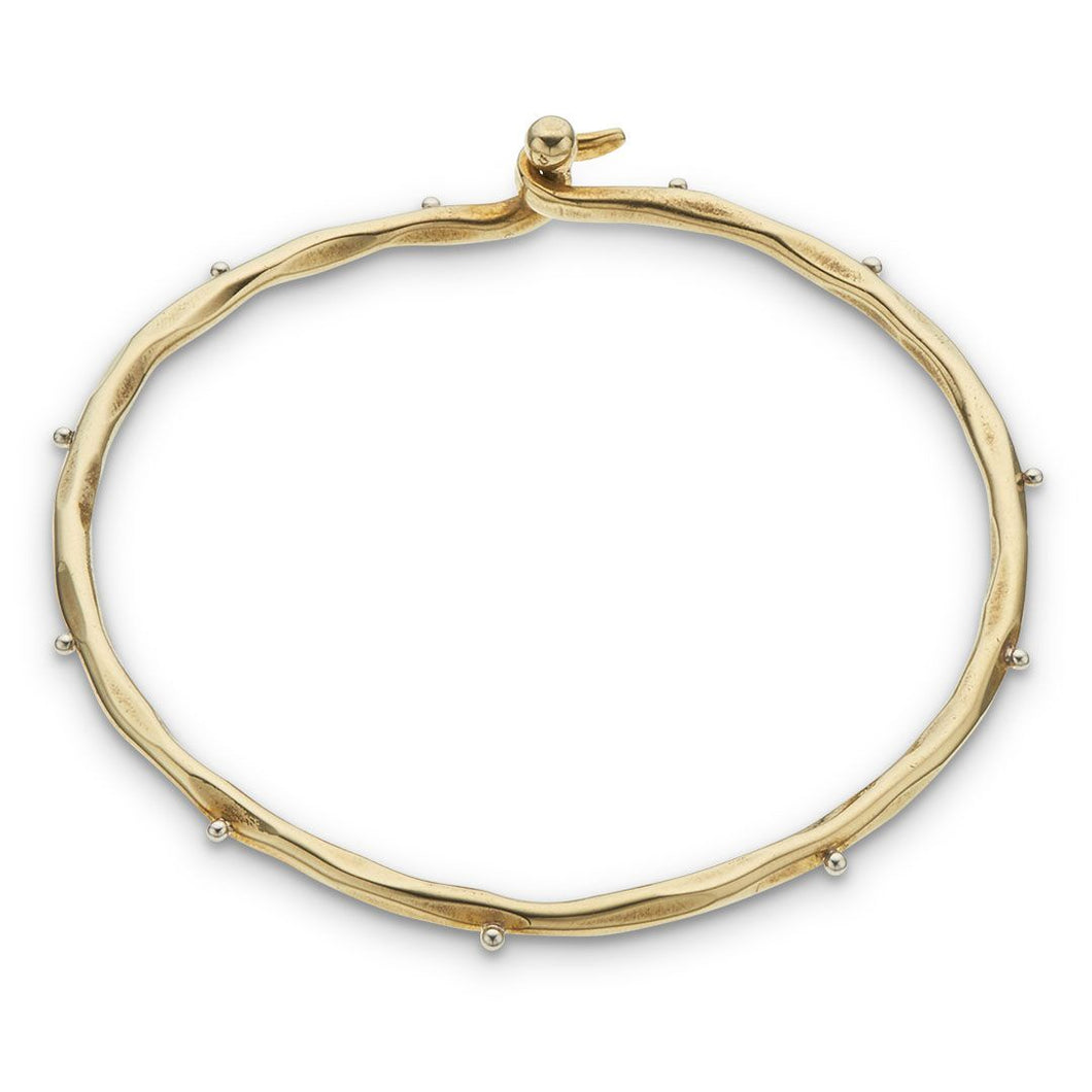 Brass and Dots Open Bangle