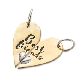 Best Friends Heart Halves Charm (pair)
