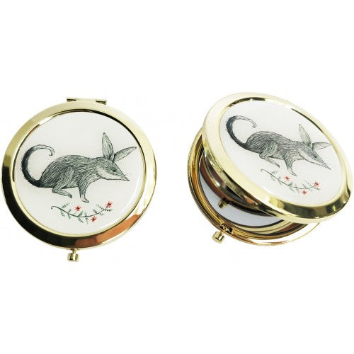 Bilby Mirror Gold Rim Monochrome