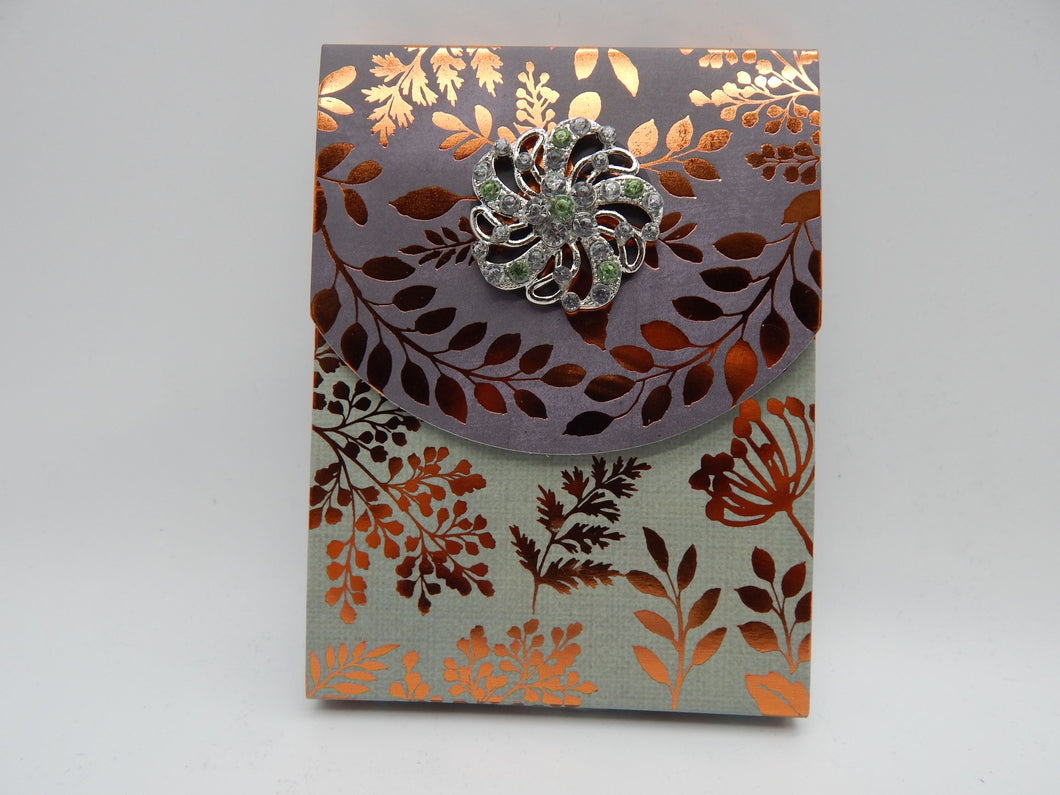Brooch note pad green