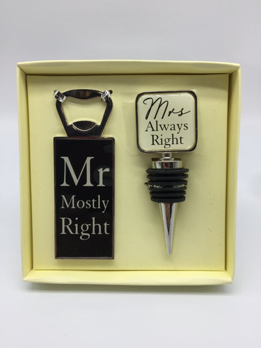 Mr & Mrs Bottle Stopper Set