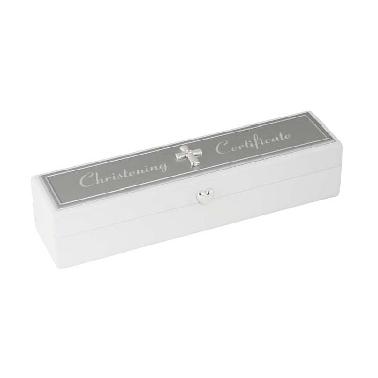 Silverplate Christening Certificate Box