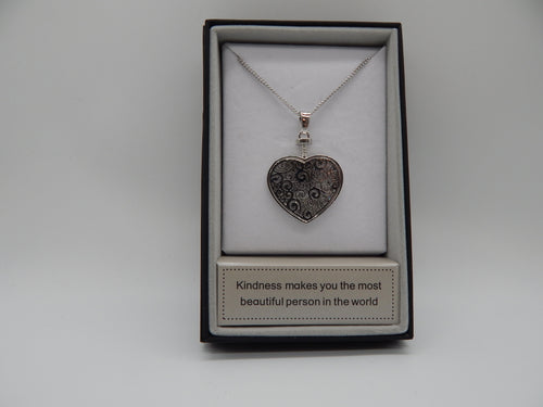 SILVER HEART PENDENT WITH CRYSTALS