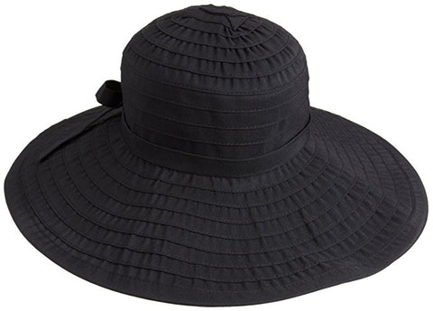 San Diego Hat Company Women's Ribbon Large Brim Hat with Bow - Black