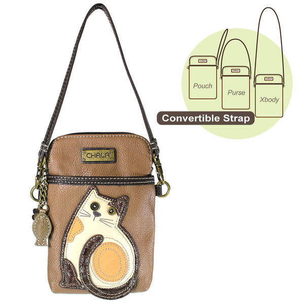 Chala Cell Phone Crossbody Cat Design Brown