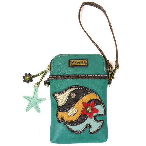 Chala Cell Phone Crossbody Tropical Fish Design Turquoise