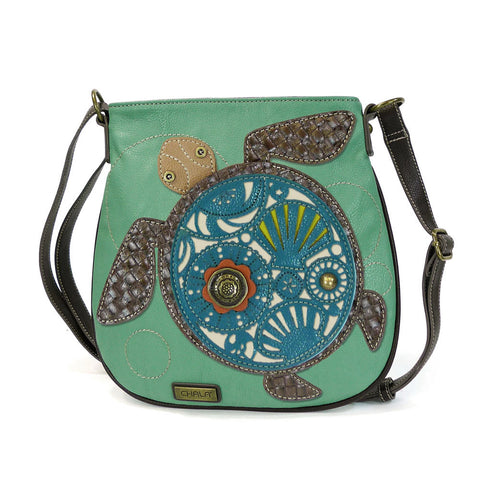 Chala Deluxe Messenger Bag Turtle Design Teal California