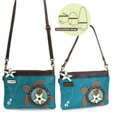 Chala Mini Crossbody Turtle Design Turquoise California
