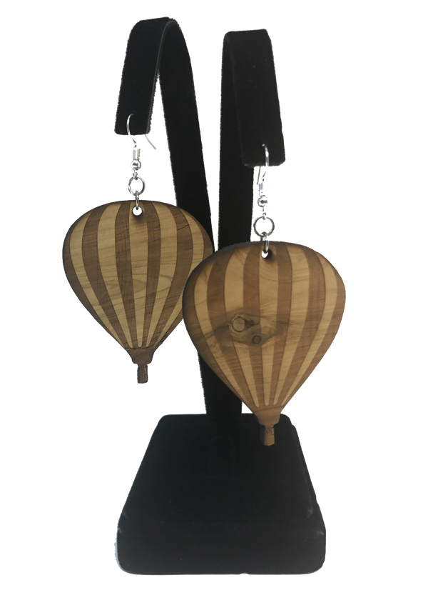 Hot Air Balloon Cedar Earrings