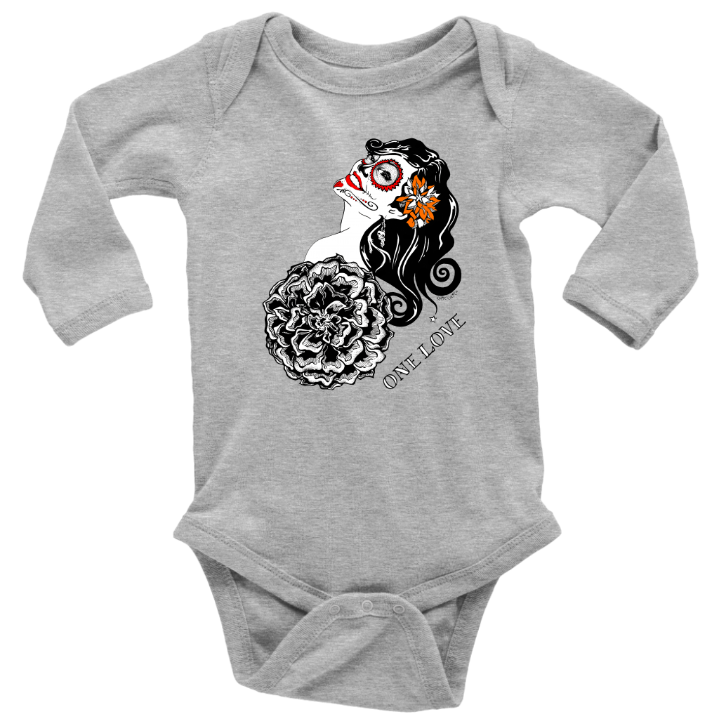 One Love by KatieCalico Long Sleeve Baby Onesie