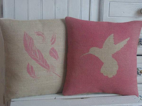 Linen Hummingbird Cushion
