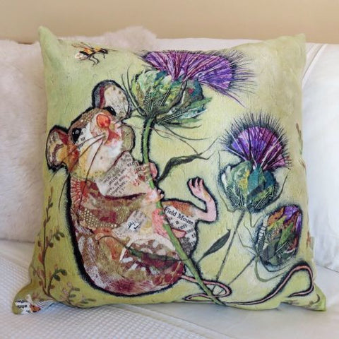 'First to the Top' Fieldmouse on thistle Cushion