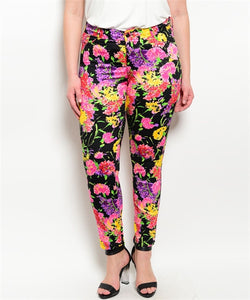 BLACK WITH FLOWERS PANTS