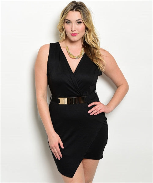 SEXY BLACK BODYCON DRESS with METALLIC BELT
