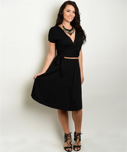BLACK TOP & FLARE SKIRT SET