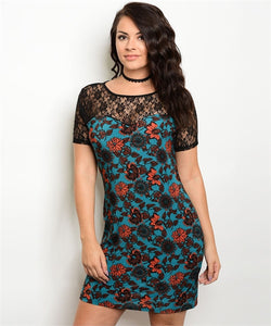TEAL and BLACK LACE BODYCON DRESS