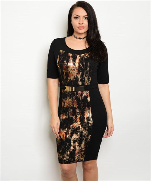 BLACK GOLD RUST BODYCON DRESS with BELT