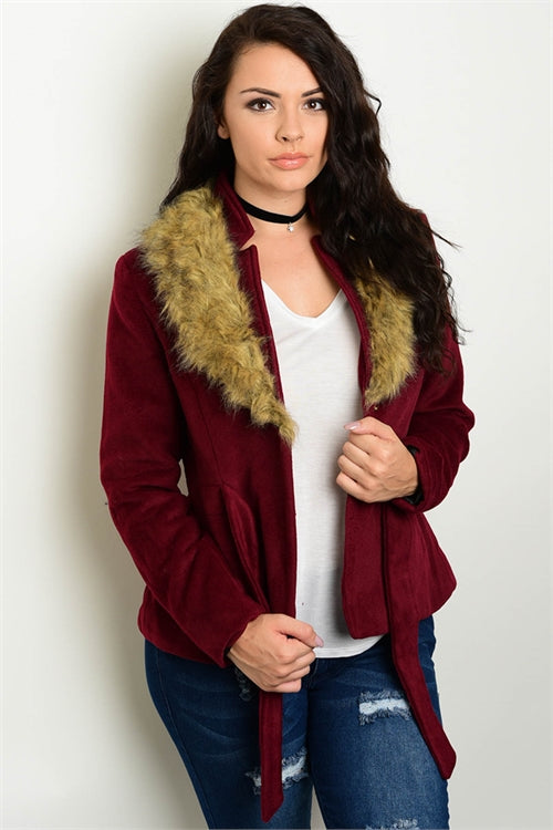 BURGANDY PLUS SIZE FAUX FUR COLLARED COAT