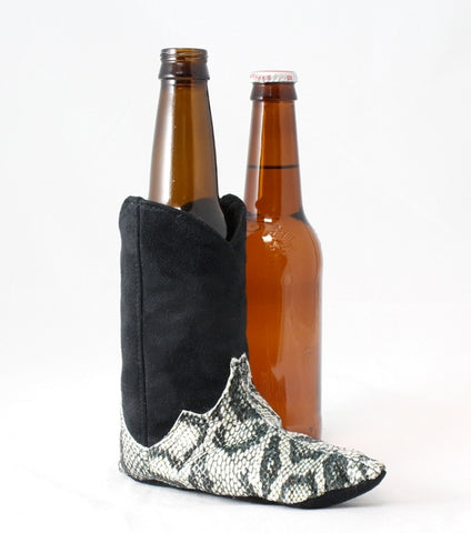 Black cowboy boot beer cozy