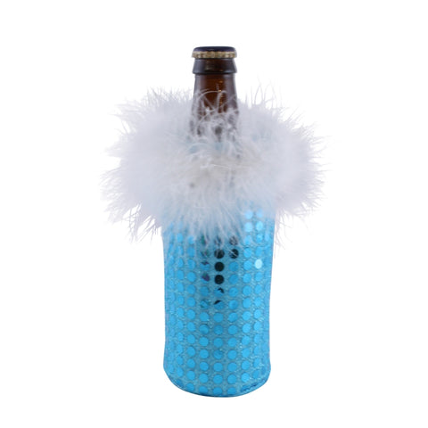 blue sequin koozie