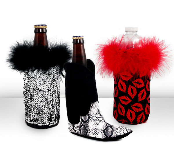 cowboy koozie with sequin coozie and lip coozie