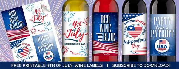 4TH OF JULY WINE LABELS - Tipsy Totes | Wine Gifts | Beer Koozies | Wine Totes | Simply Fabulous
