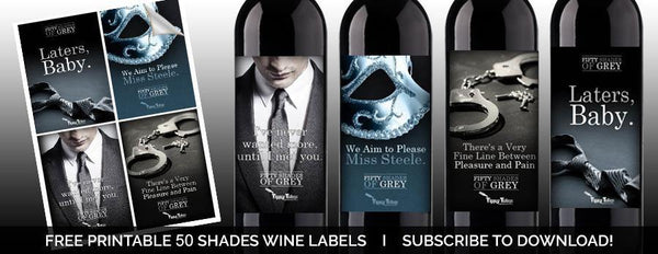 50 Shades of Grey Printable Wine Labels - Tipsy Totes | Wine Gifts | Beer Koozies | Wine Totes | Simply Fabulous