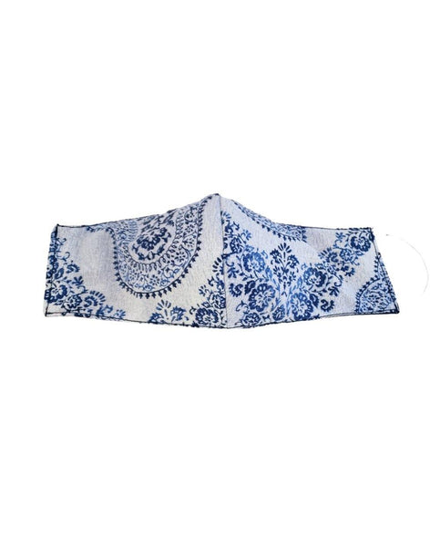 Blue and White Delicate Paisley Reversible Face Mask - Tipsy Totes | Wine Gifts | Beer Koozies | Wine Totes | Simply Fabulous