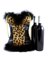 Sexy Cheetah Leopard Wine Tote with Satin, Insulated, Chain Handles