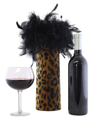 Leopard/Cheetah Single Bottle Tote with Feathers
