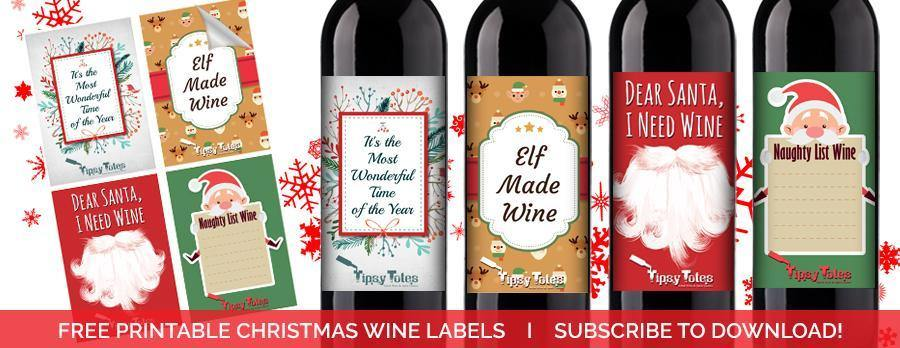 graphic about Printable Wine Bottle Labels called Absolutely free PRINTABLE Xmas WINE LABELS