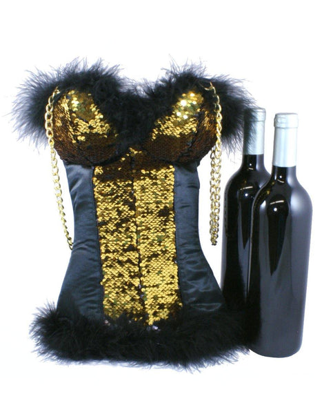 Gold to Black Reversible Sequin Corset Wine Carrier for 2 bottles by Tipsy Totes