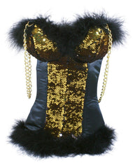Sexy Corset Tote in Gold/Black reversible Sequins by Tipsy Totes