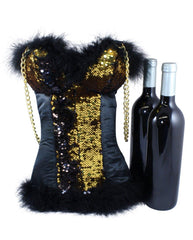 Wine Bag for 2 bottles - wine or spirits in Gold Sequins by Tipsy Totes