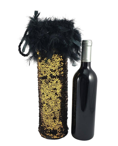 Diva Wine Bag with Black and Gold Reversible Mermaid Sequin Fabric and Feather Trim